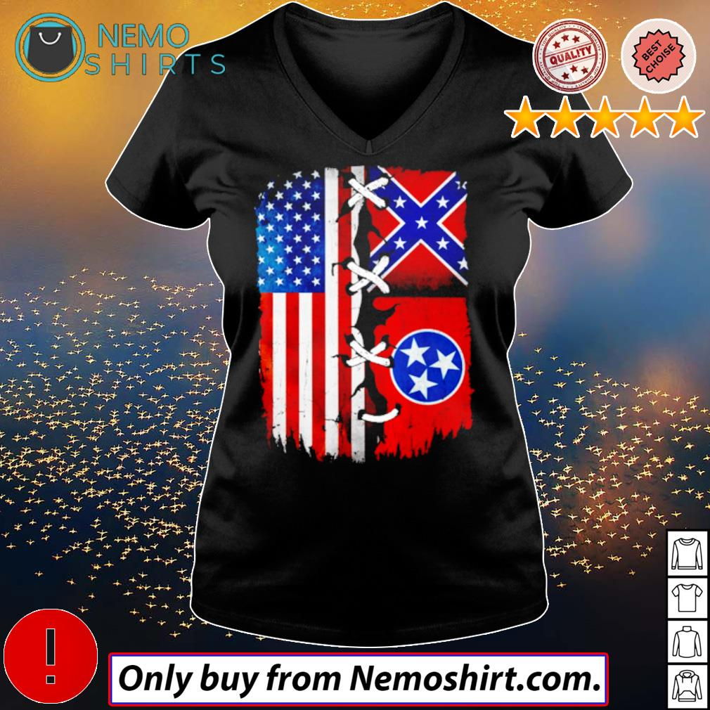 Tennessee Mississippi and USA Flag 4th of July s V-neck Ladies Black