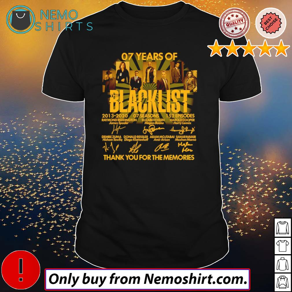 Thank you for the memories 07 Years of Blacklist 2013-2020 signatures shirt