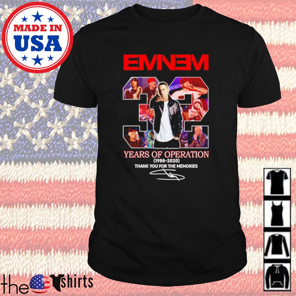 Thank you for the memories Eminem 32 Years of operation 1988-2020 signature shirt