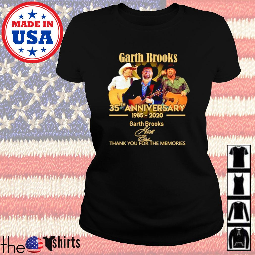 Thank you for the memories Garth Brooks 35th Anniversary 1985-2020 signature s Ladies Tee Black