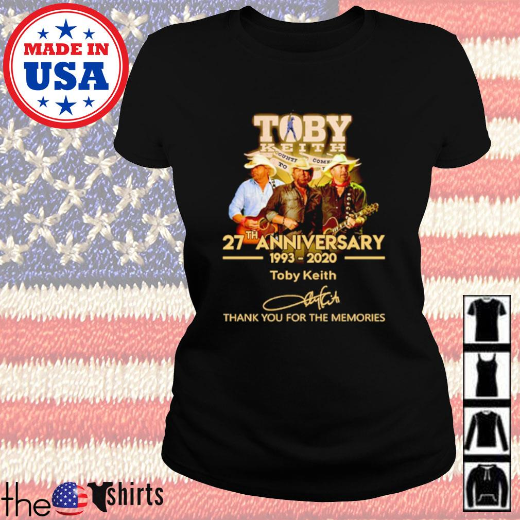 Thank you for the memories Toby Keith 27th Anniversary 1993-2020 signature s Ladies Tee Black