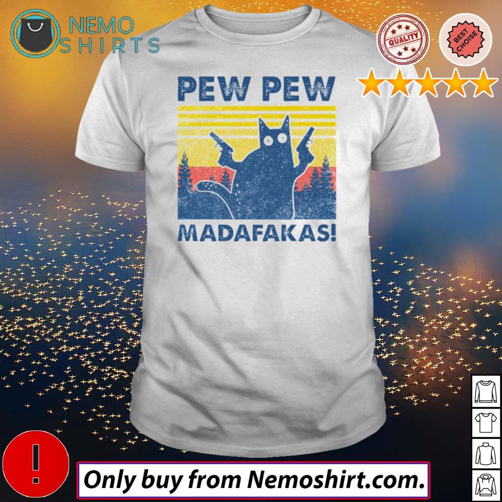 Vintage cat hold gun pew pew Madafakas shirt