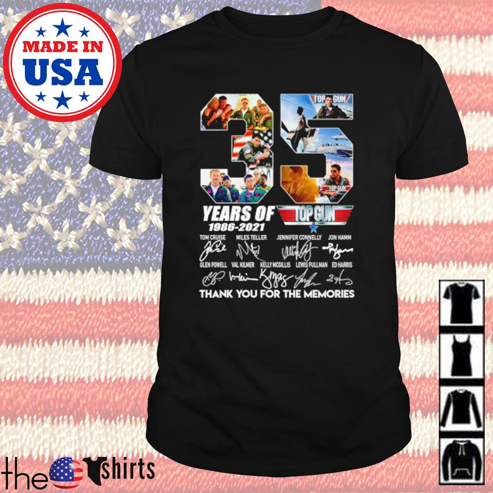 35 Years of Top Gun 1986-2021 all characters signatures shirt