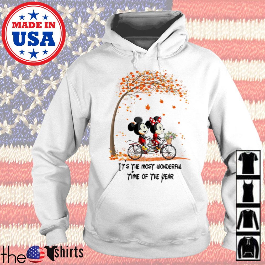 Autumn Mickey and Minnie Mouse riding bicycle it's the most wonderful time of the year s Hoodie White