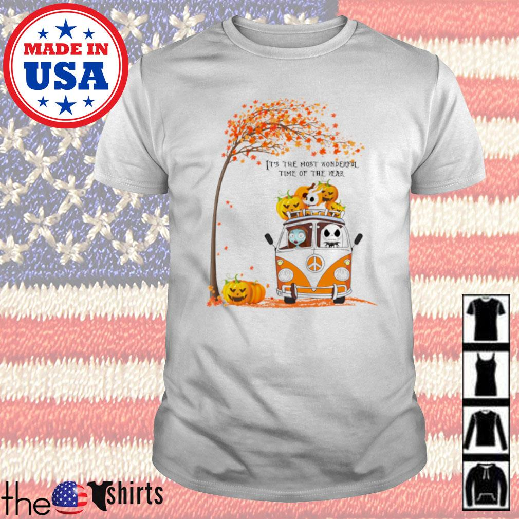 Autumn Sally and Jack Skellington hippie car it's the most wonderful time of the year shirt