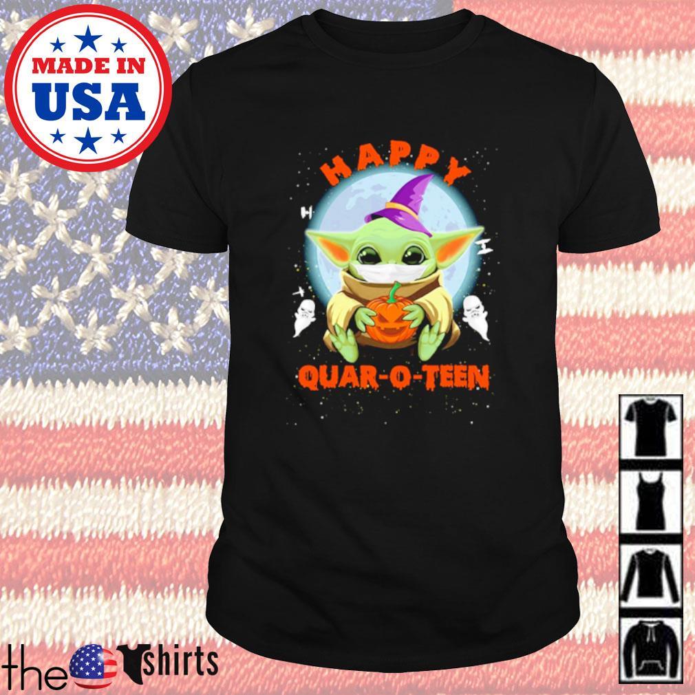 Baby Yoda hug Pumpkin happy quarto teen Halloween shirt