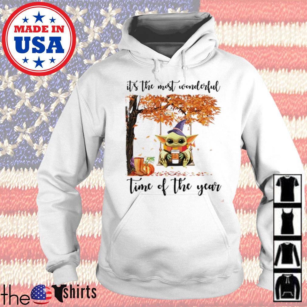 Baby Yoda pumpkin it's the most wonderful time of year s Hoodie White