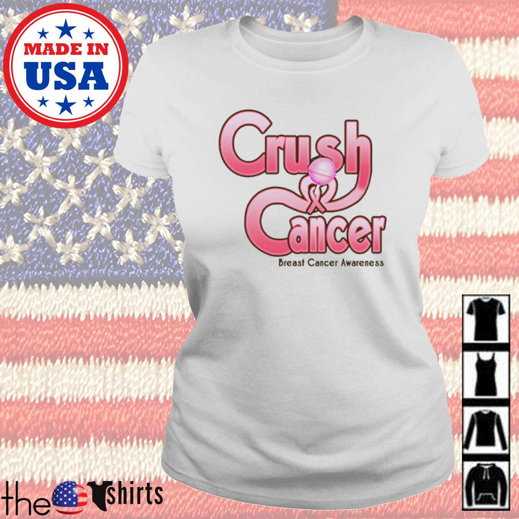 Crush cancer breast cancer awareness s Ladies Tee White