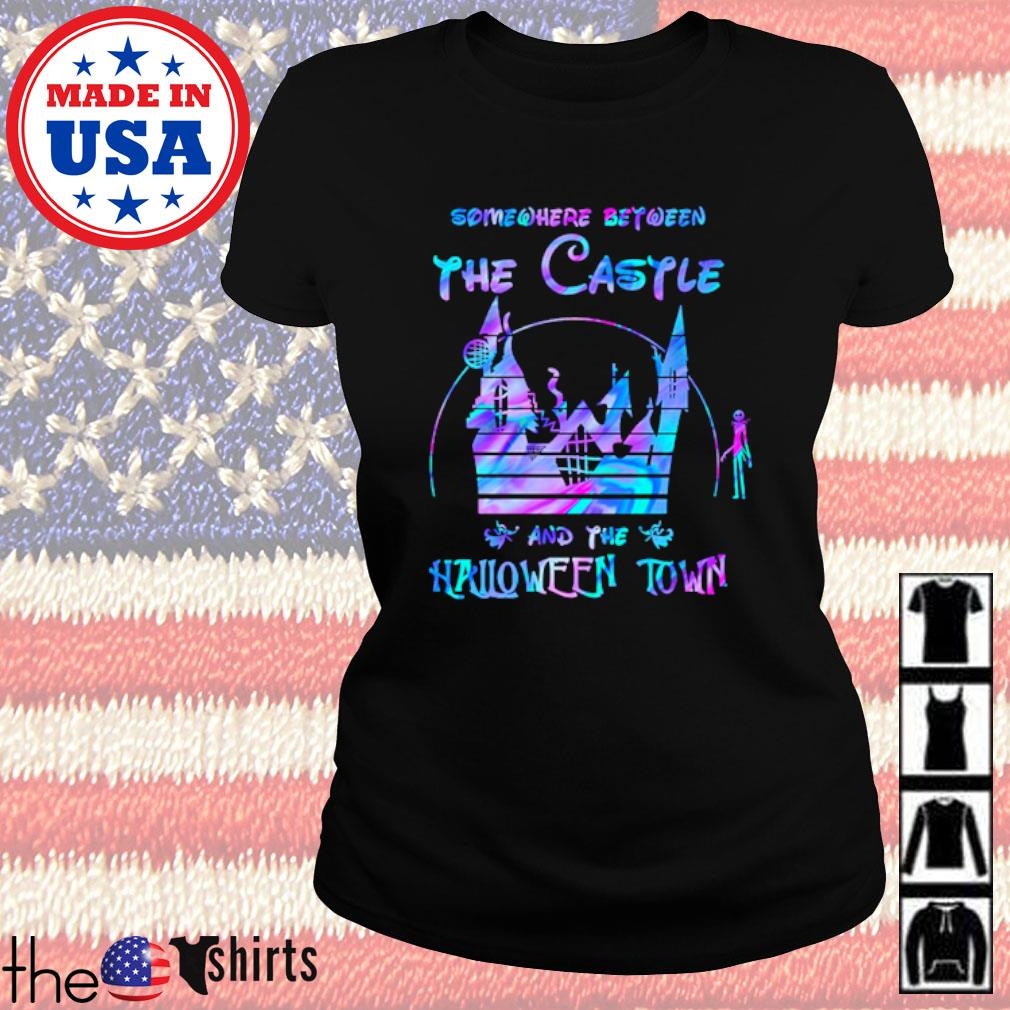 Disney world Somewhere between the Castle and the Halloween town s Ladies Tee Black