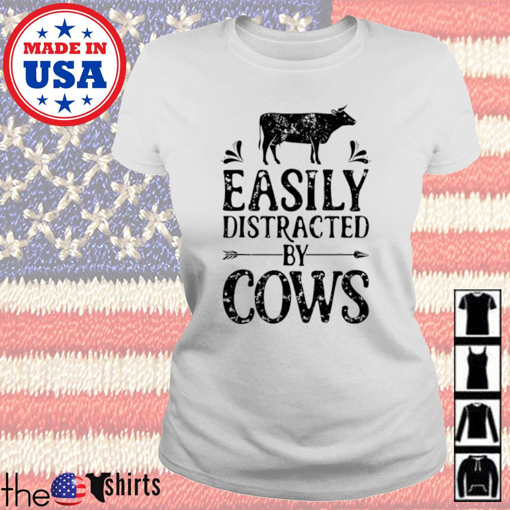 Easily distracted by cows s Ladies Tee White
