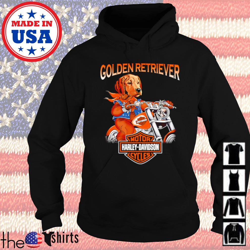 Golden Retriever riding motorcycle Motor Harley-Davidson cycles s Hoodie Black