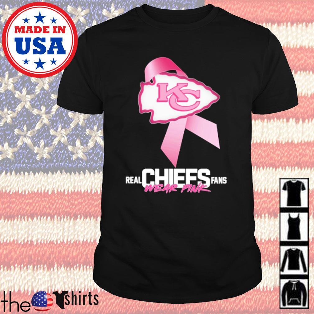 Kansas City Chiefs Real Chiefs fans wear pink breast cancer shirt