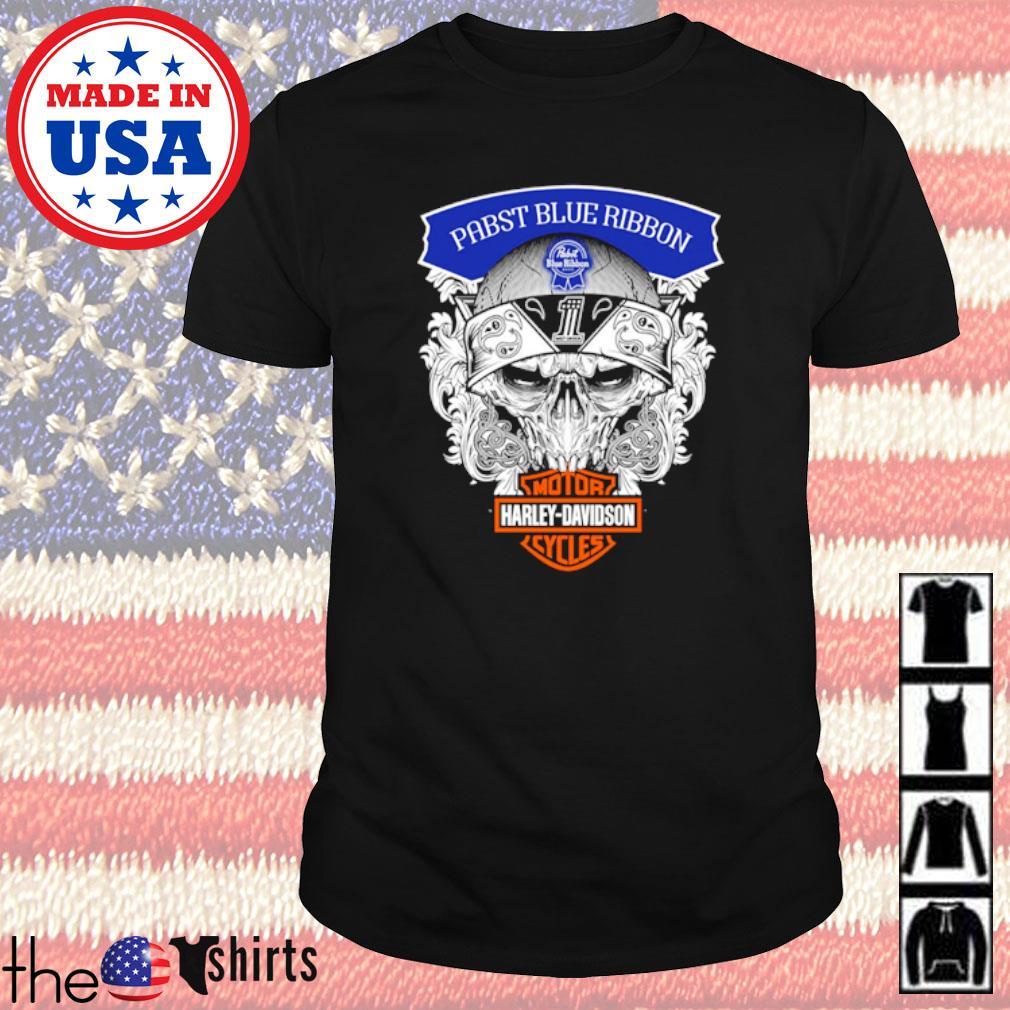 Skull Pabst Blue Ribbon Motor Harley-Davidson Cycles shirt