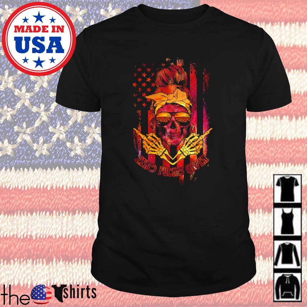 Skull wearing bandana and glasses zero fucks given American flag shirt