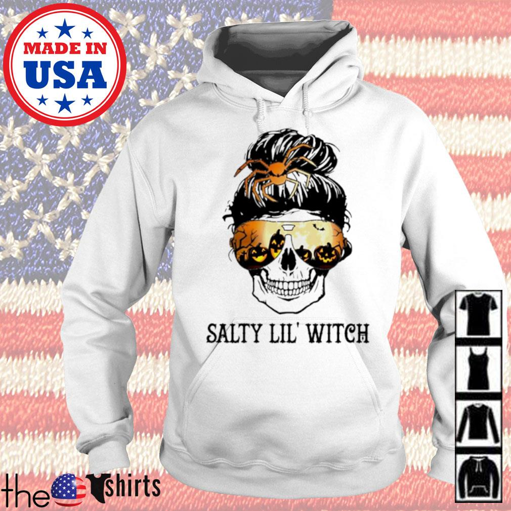 Skull wearing glasses Halloween Salty Lil' witch s Hoodie White