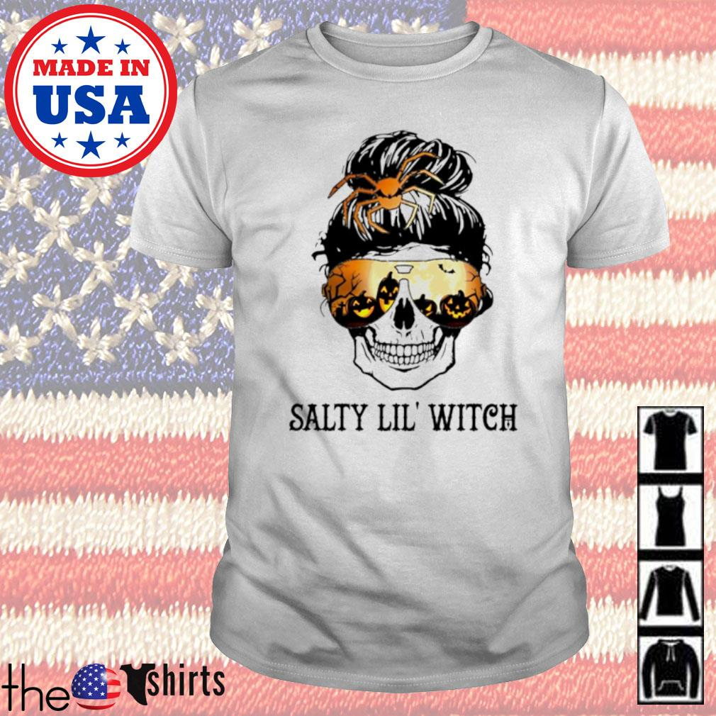 Skull wearing glasses Halloween Salty Lil' witch shirt