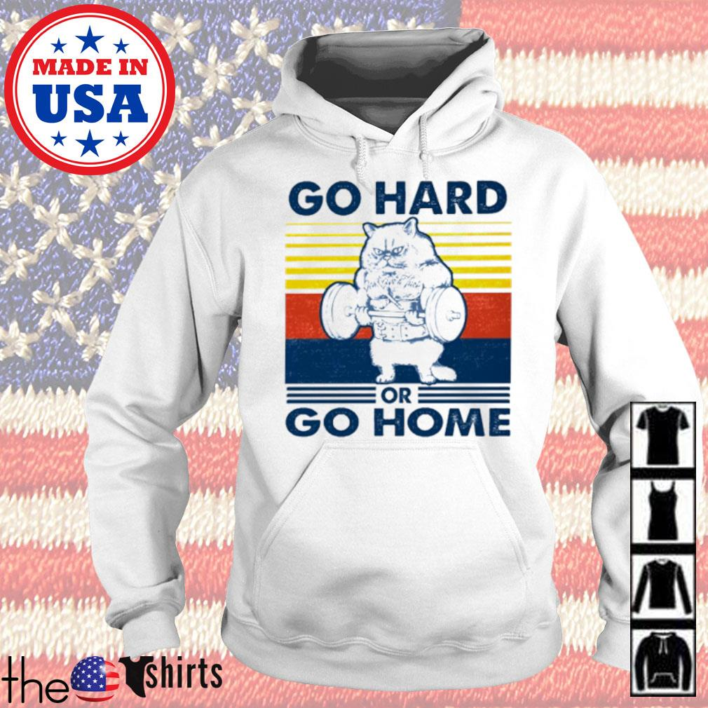 Vintage Cat gym go hard or go home s Hoodie White