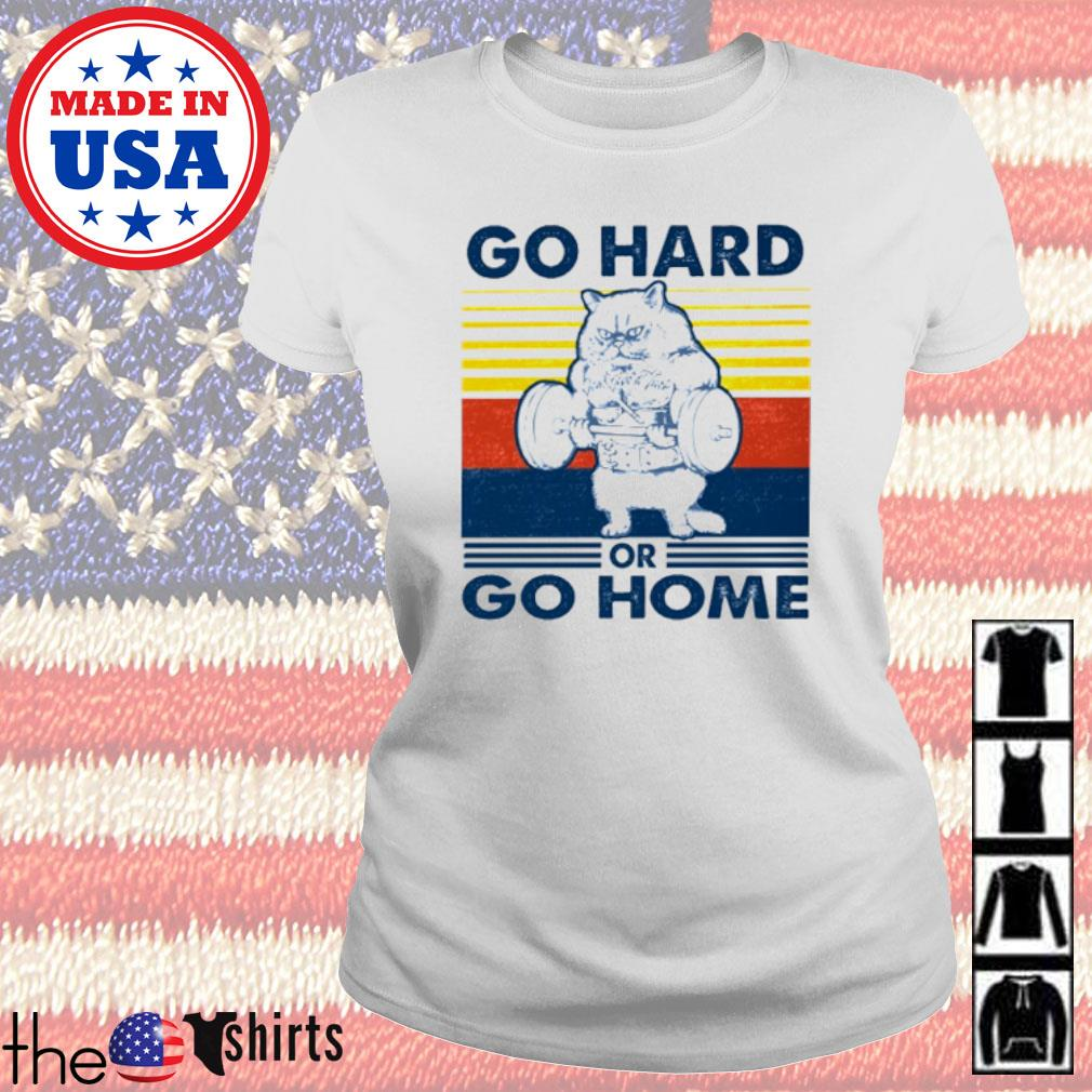 Vintage Cat gym go hard or go home s Ladies Tee White
