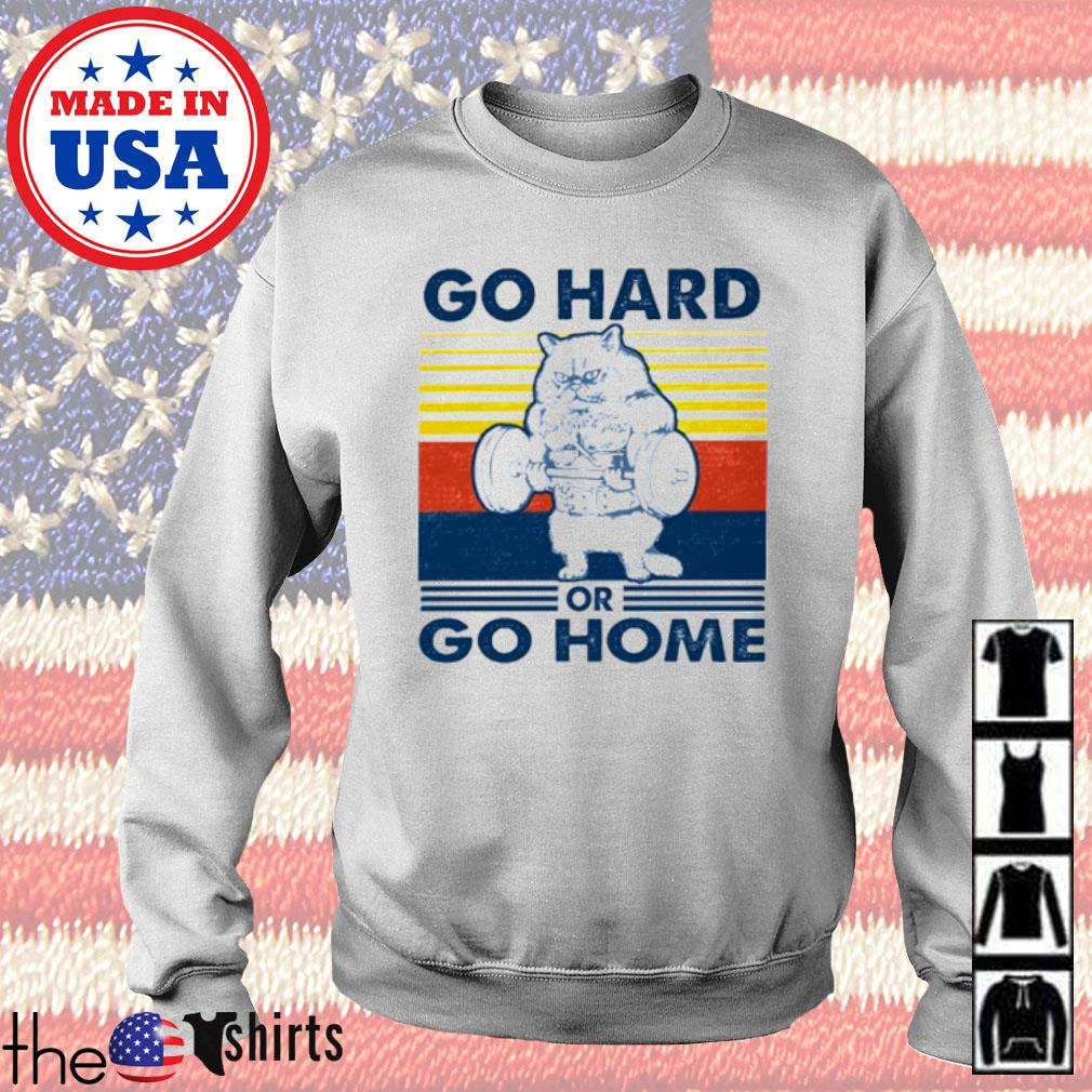 Vintage Cat gym go hard or go home s Sweater White