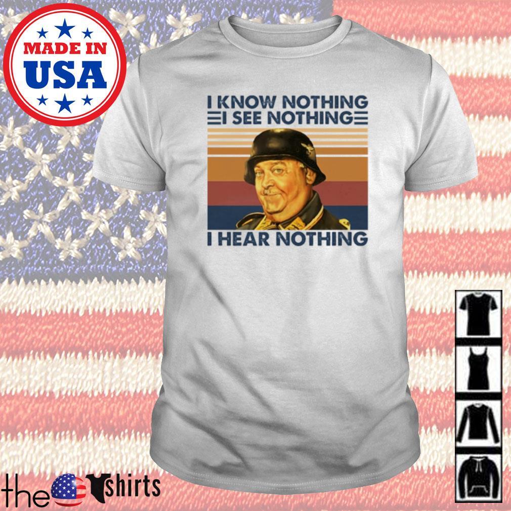 Vintage Sergeant Schultz I know nothing I see nothing I hear nothing shirt