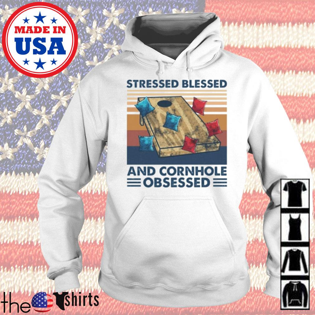Vintage Stressed blessed and cornhole obsessed s Hoodie White