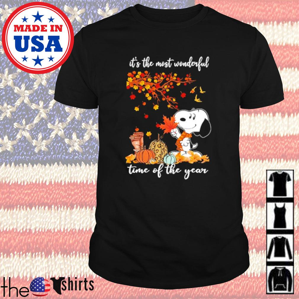 Autumn trees and Pumpkins Snoopy it's the most wonderful time of the year shirt