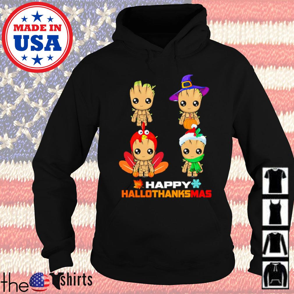 Baby Groot Happy hallothanksmas Halloween Thanksgiving and Christmas s Hoodie Black