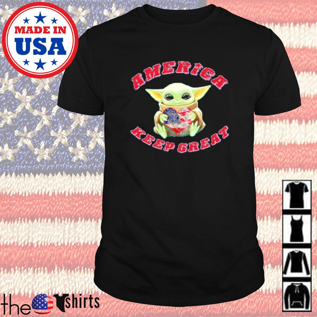 Baby Yoda hug heart America keep great shirt