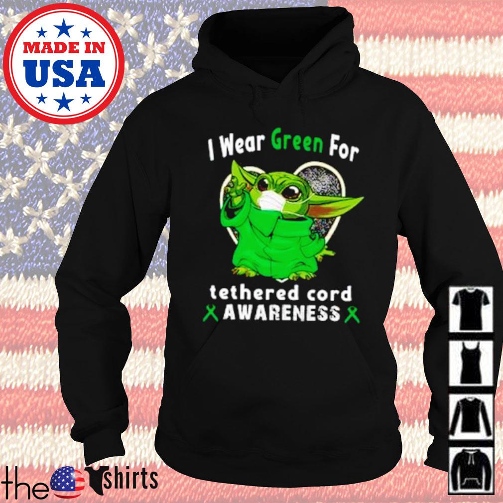 Baby Yoda I wear Green for tetherd cord awareness COVID-19 s Hoodie Black
