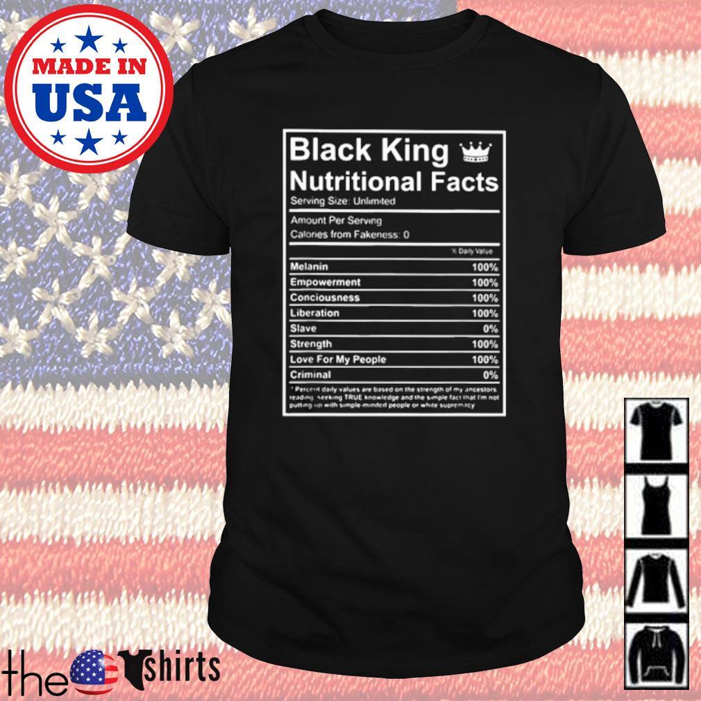 Black king nutritional facts shirt
