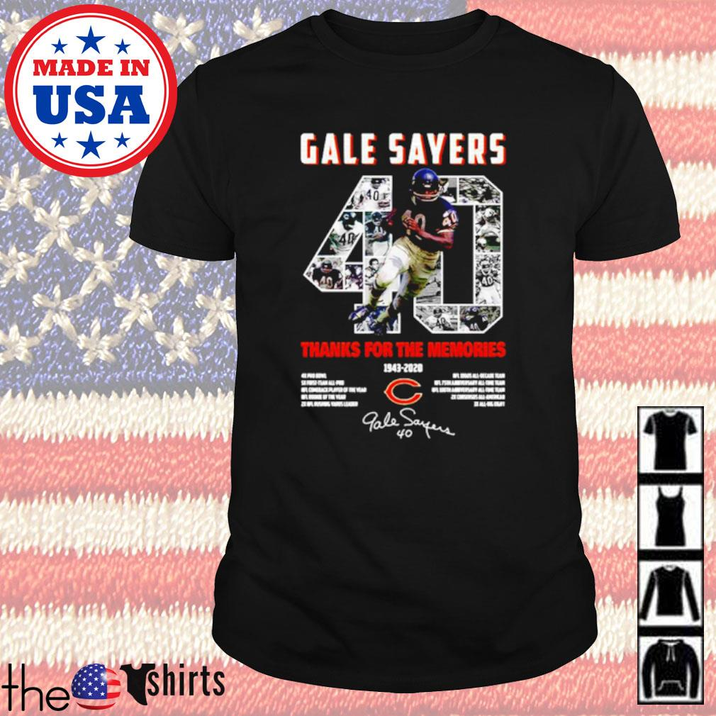 Chicago Bears 40 Gale Sayers 1943-2020 thank you for the memories signatures shirt