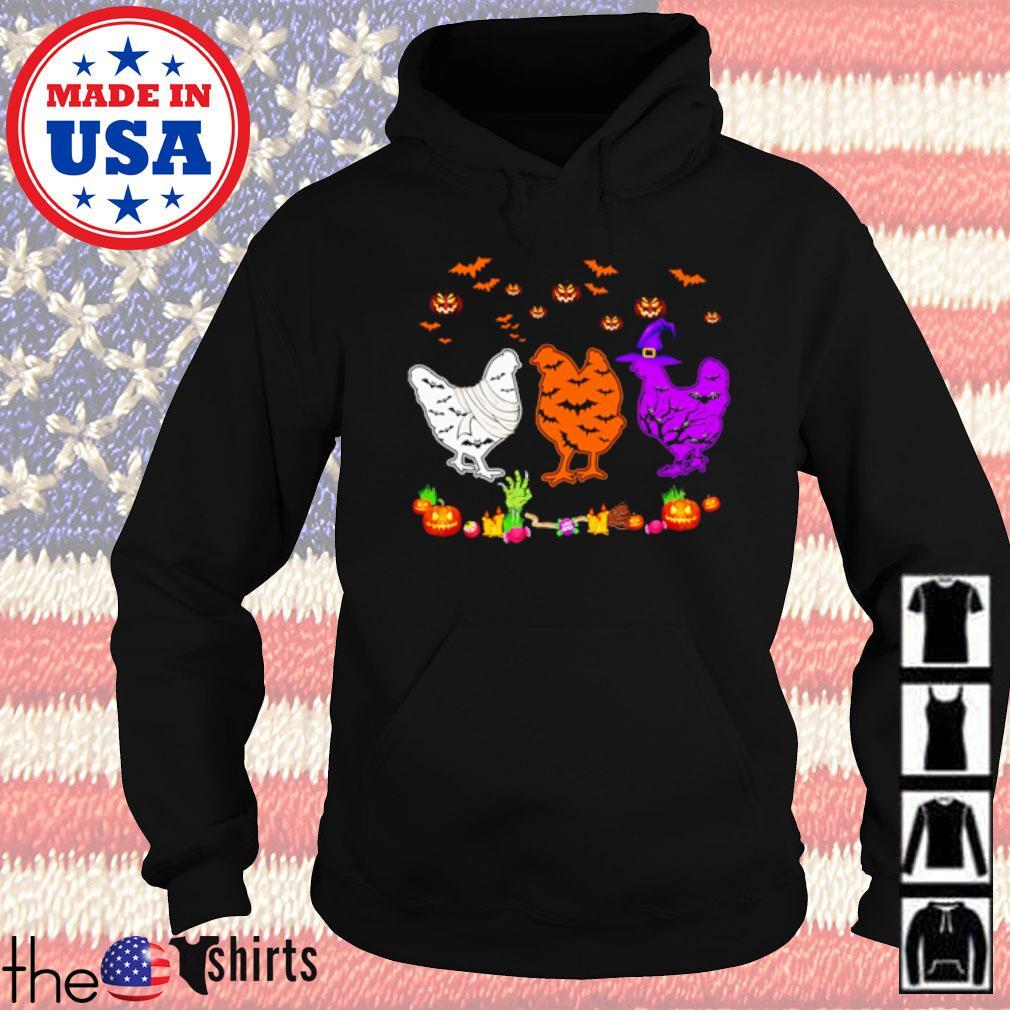 Chickens Halloween white orange and purple s Hoodie Black