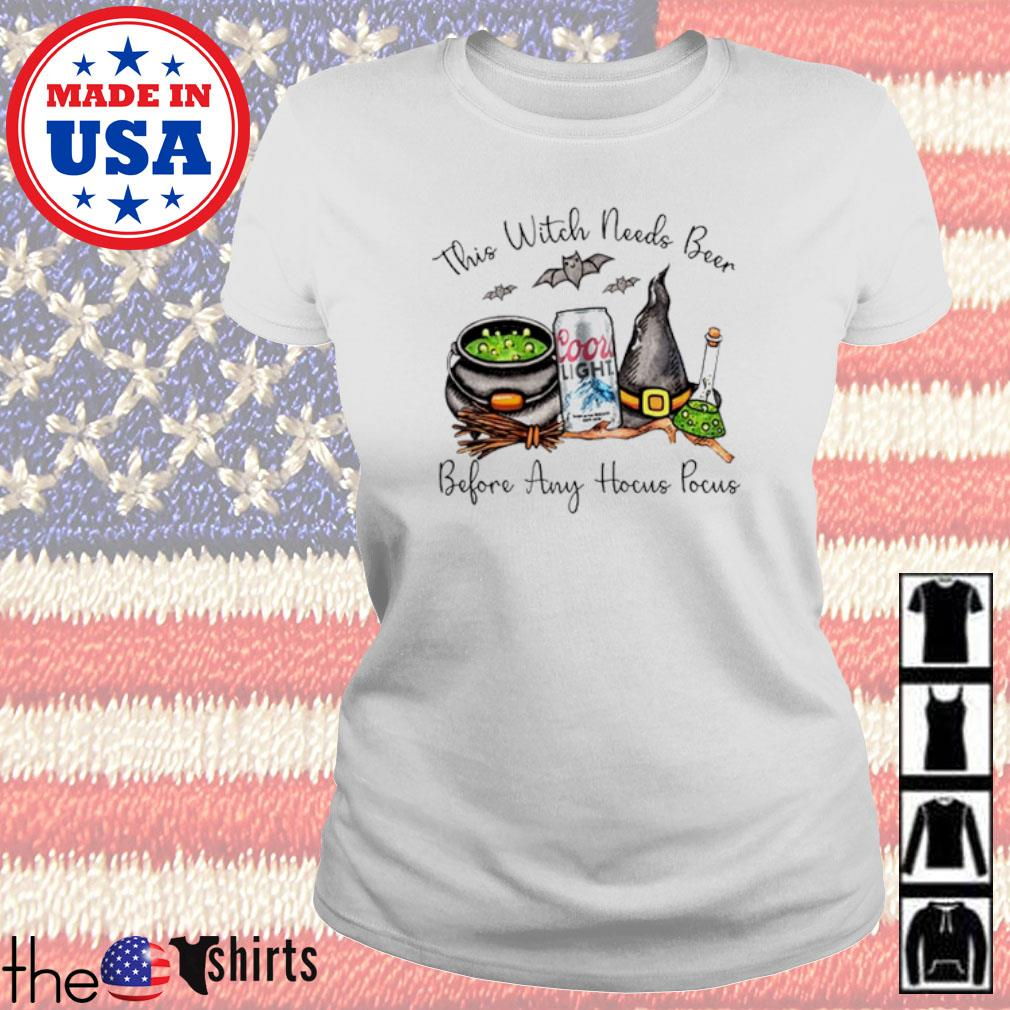 Coors Light this witch needs beer before any Hocus Pocus s Ladies Tee White