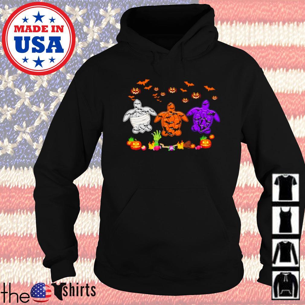 Halloween Turtles white orange and purple s Hoodie Black