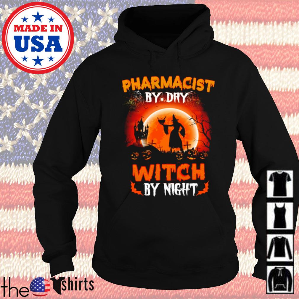 Halloween Witch sitting on broom Pharmacist by dry witch by night s Hoodie Black