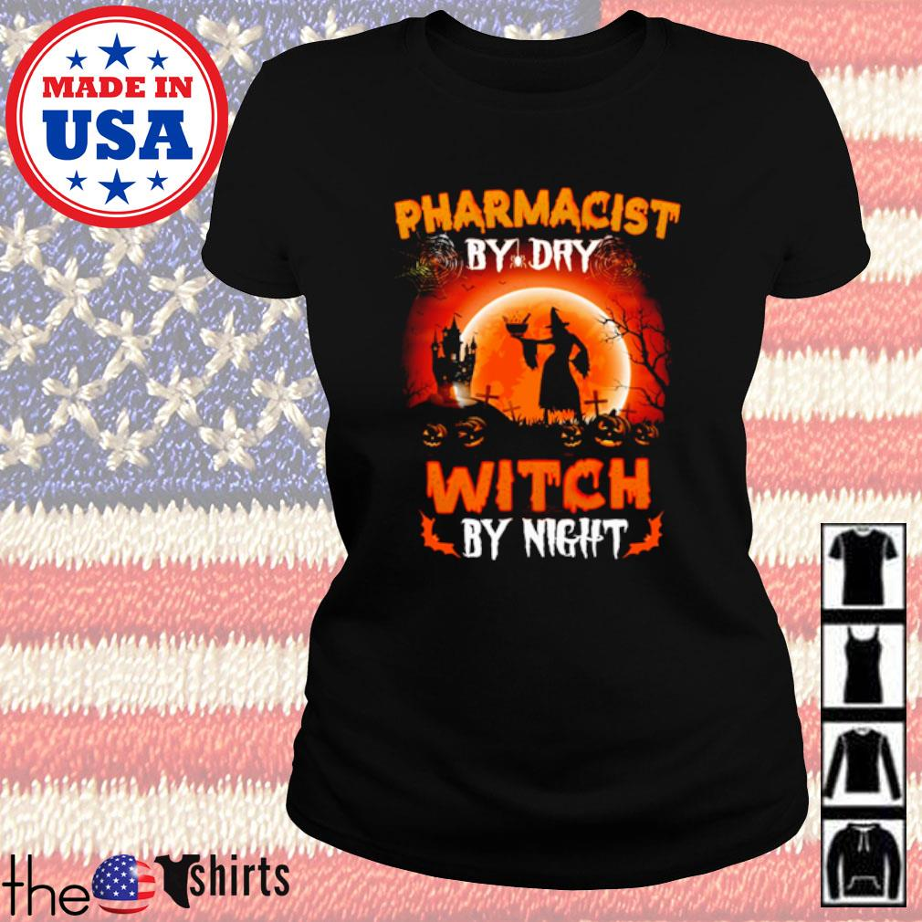 Halloween Witch sitting on broom Pharmacist by dry witch by night s Ladies Tee Black