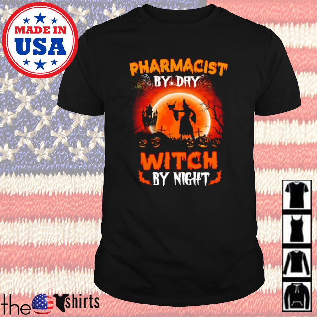 Halloween Witch sitting on broom Pharmacist by dry witch by night shirt