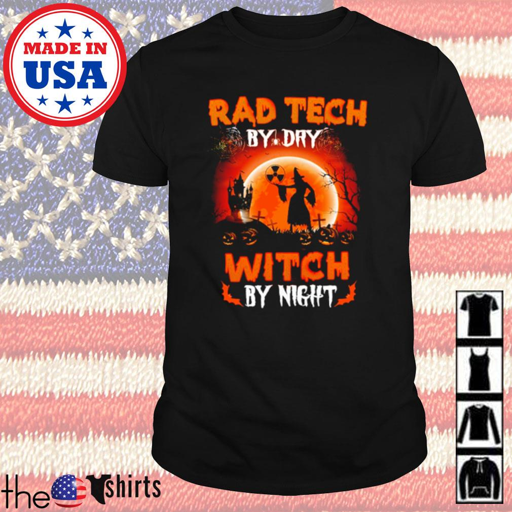 Halloween Witch sitting on broom Rad Tech by dry witch by night shirt