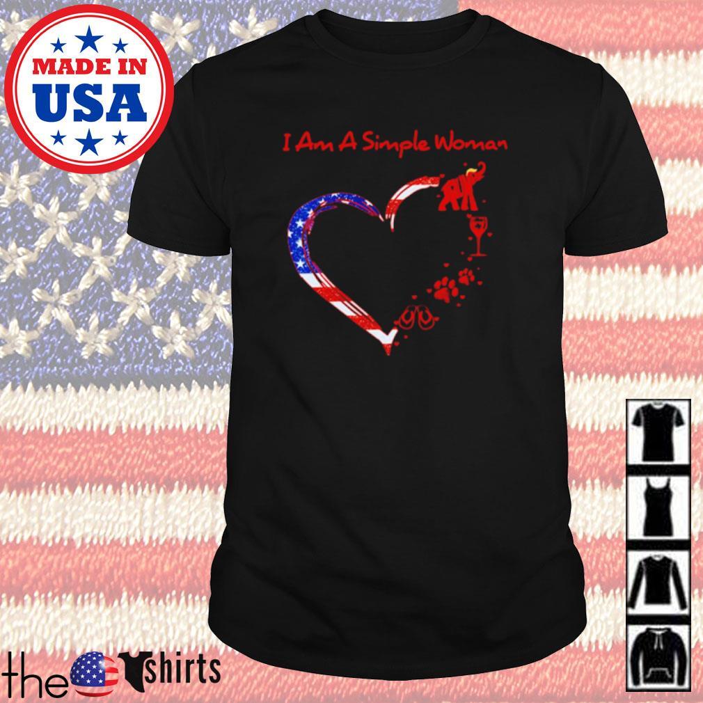Heart American I am a simple woman I like Donald Trump elephant wine paw dog and flip flops shirt