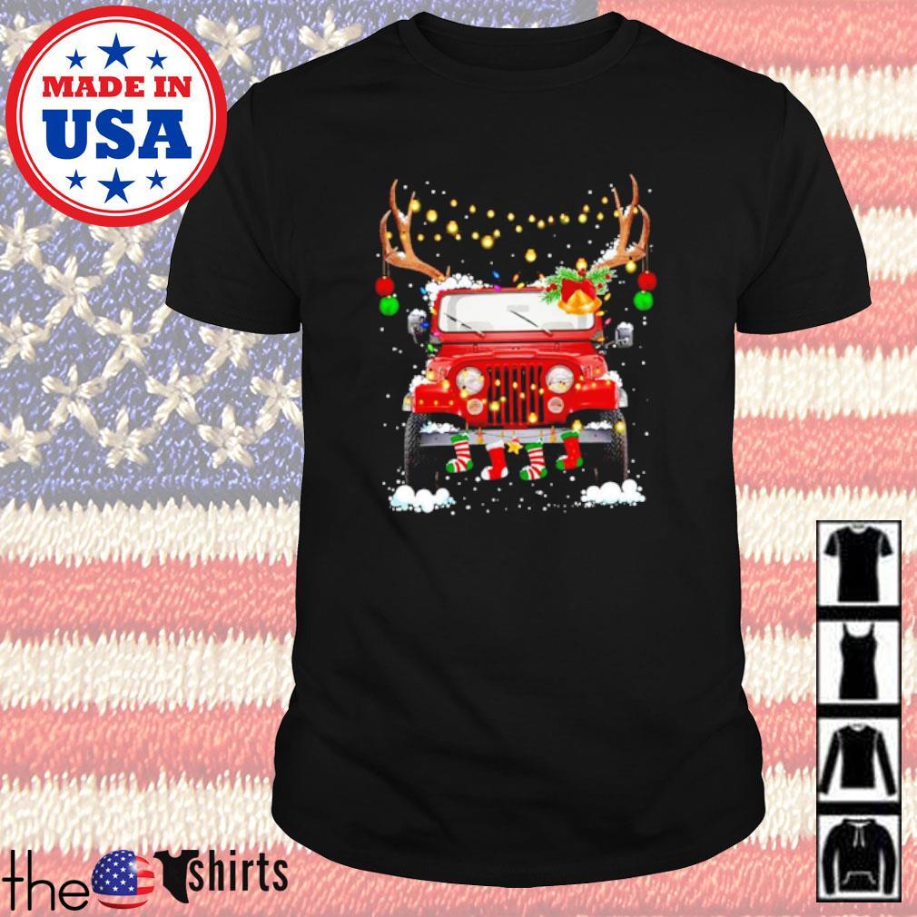 Jeep Reindeer Christmas lights shirt
