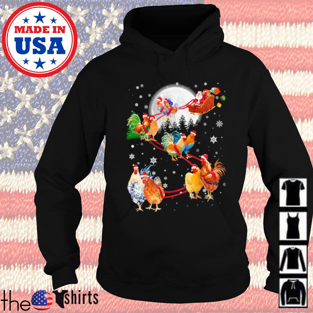 Merry Christmas Chicken Santa Claus and Sky on the moon s Hoodie Black