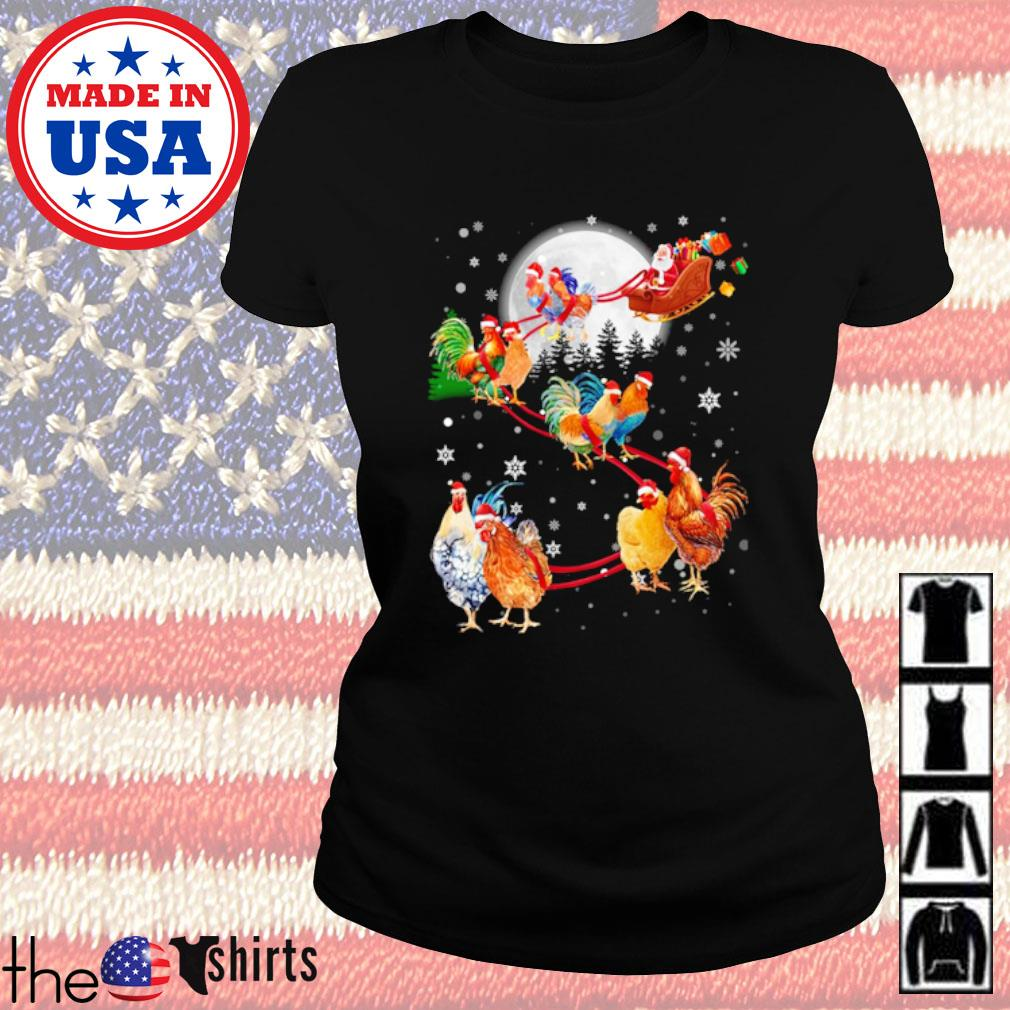 Merry Christmas Chicken Santa Claus and Sky on the moon s Ladies Tee Black