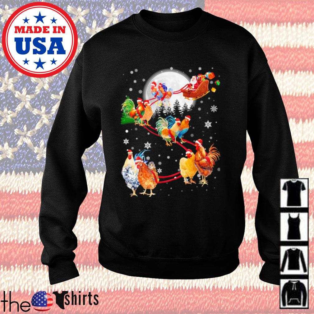Merry Christmas Chicken Santa Claus and Sky on the moon s Sweater Black