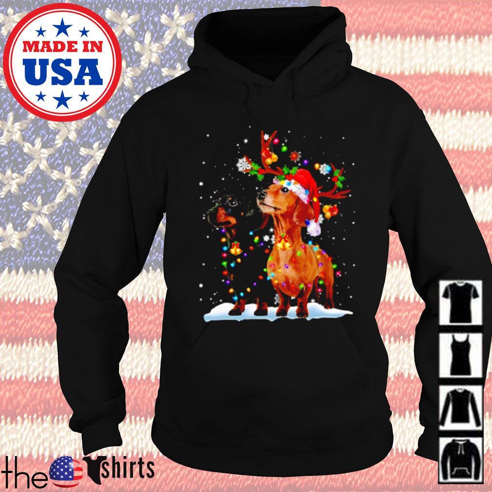 Merry Christmas Dachshund reindeer s Hoodie Black