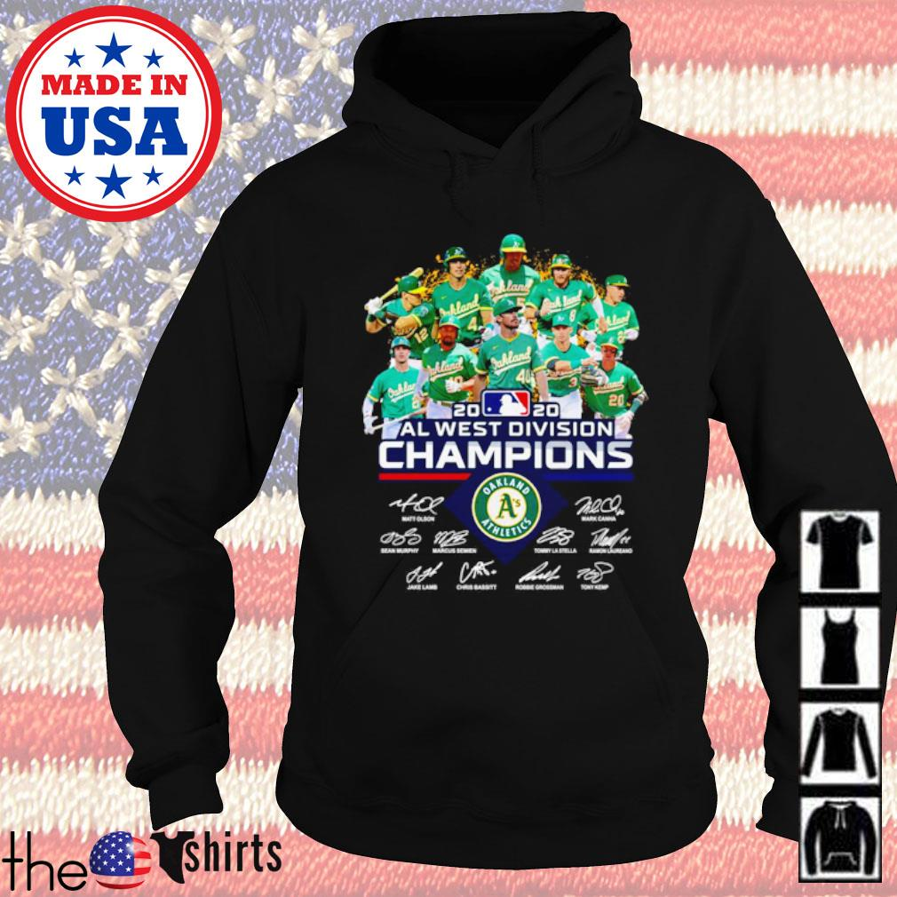 Oakland Athletics 2020 all west division Champions team players signatures s Hoodie Black