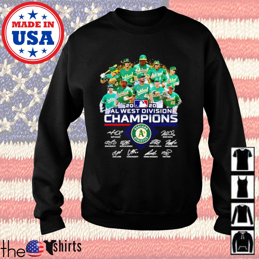 Oakland Athletics 2020 all west division Champions team players signatures s Sweater Black