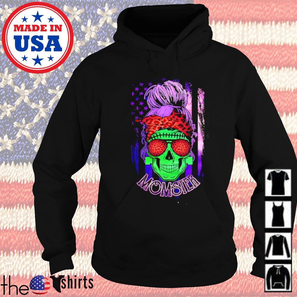 Skull wearing bandana and glasses leopard momster American Flag s Hoodie Black