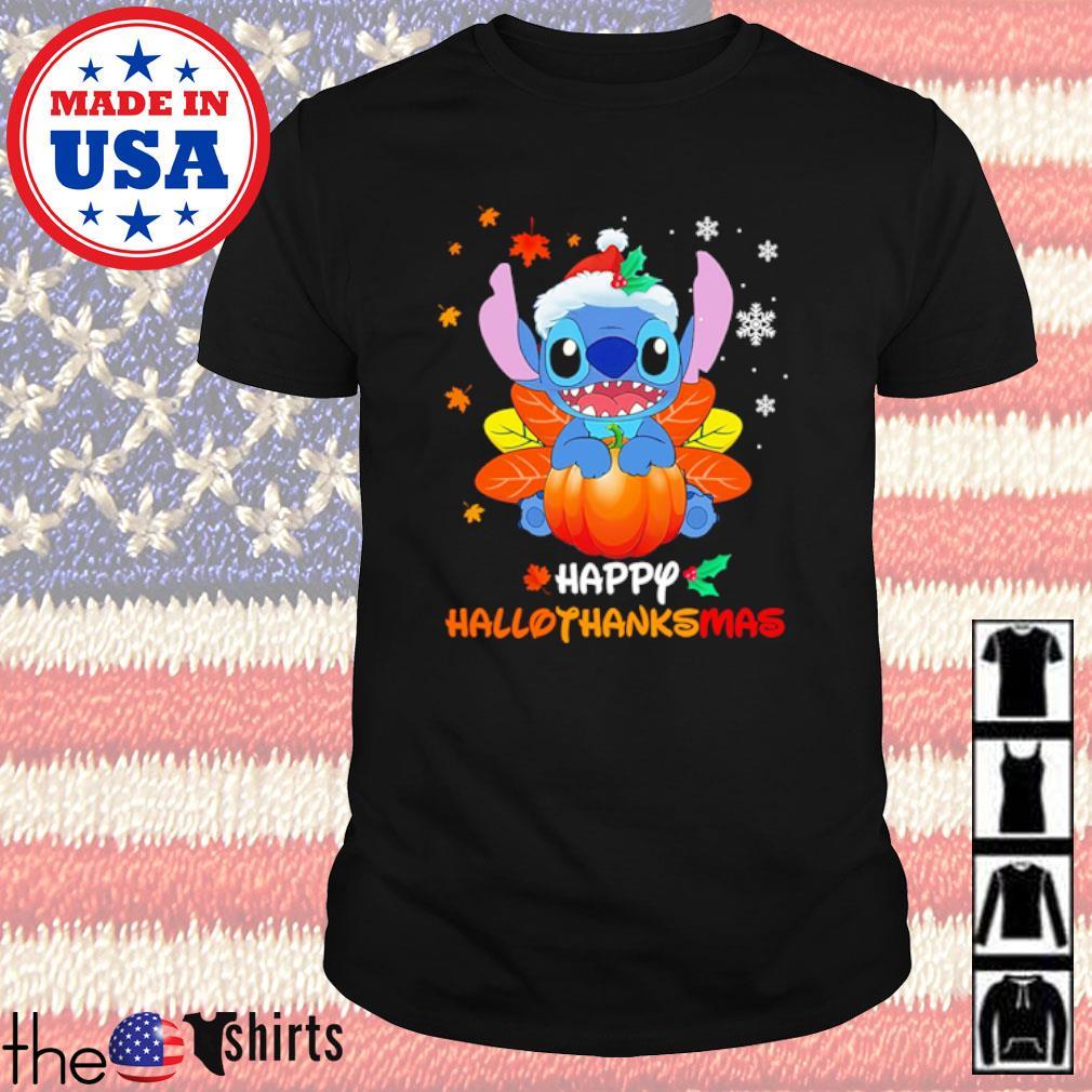 Stitch Pumpkin hallothanksmas Halloween Thanksgiving and Christmas shirt