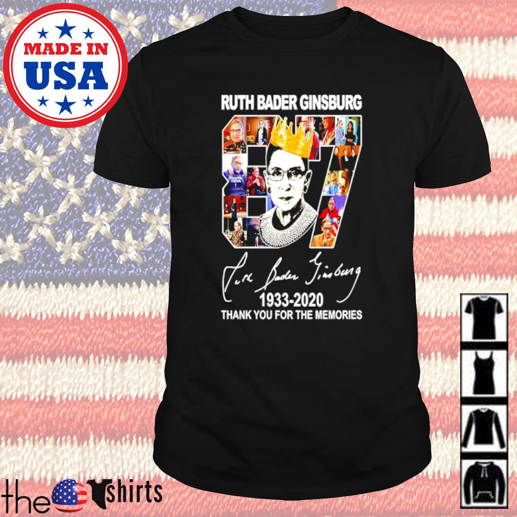 Thank you for the memories Ruth Bader Ginsburg 87 Years 1933-2020 signature shirt