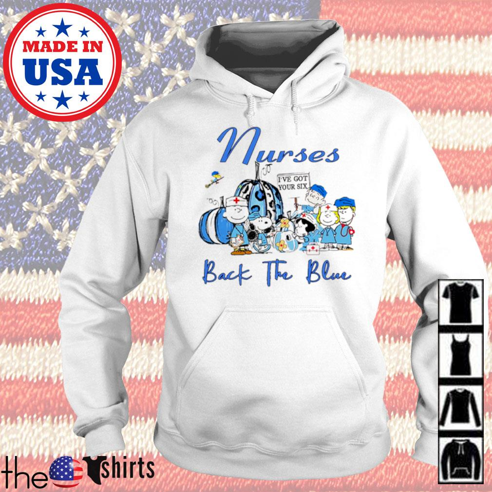 The Peanuts Snoopy Charlie Brown and Friends Nurses back the blue s Hoodie White